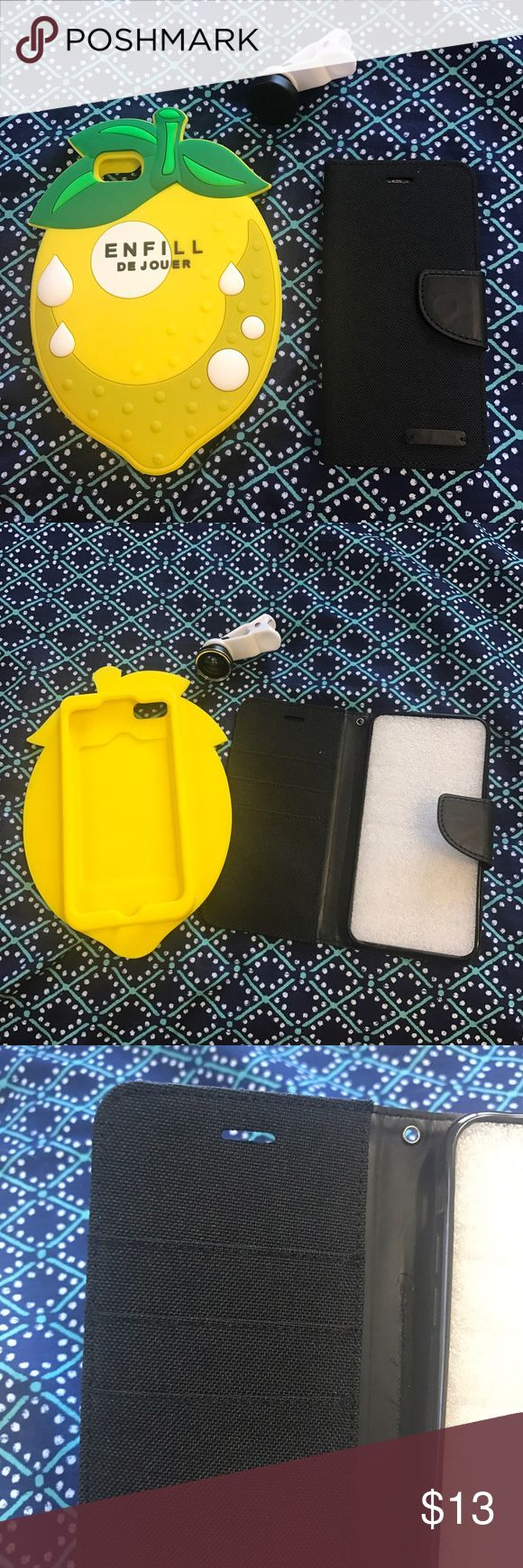 2 iPhone 7 phone cases and free fish eye lens New cases, no damages! Comes with new fish eye lens!!  -- Price is final (Bundle and safe with other items) Accessories Phone Cases