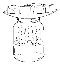 A jar half filled with steaming water covered with a plate