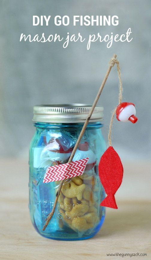 Whether you need a cute and practical snack idea for a family fishing trip or simply in need of a festive party favor idea, this DIY Mason Jar Craft featuring fish-themed snacks is sure to put a smile on your kids faces.