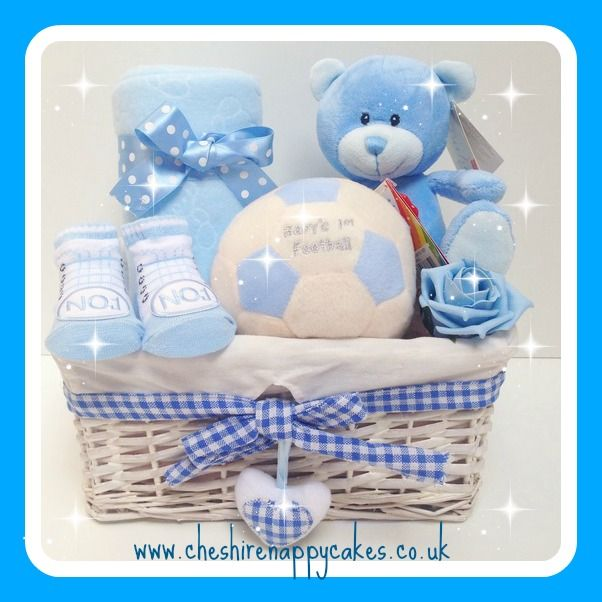 Baby's 1st Football Gift Basket available from www.cheshirenappycakes.co.uk... #babygift #babyshower #giftbasket #newbaby #giftbasket #baby #hamper