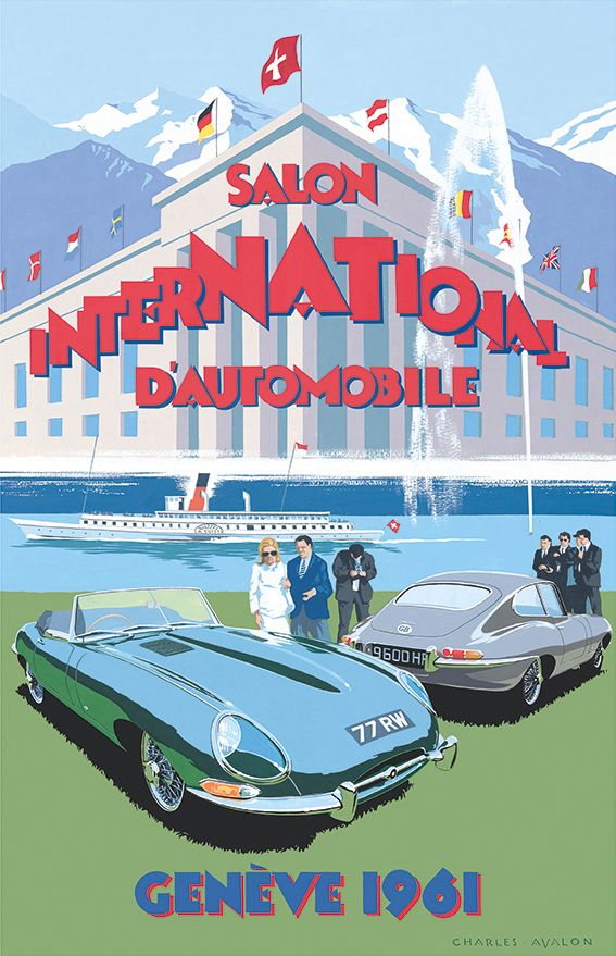 PEL412: 'E' type Jaguar - Salon International d'Automobile, Genève 1961' by Charles Avalon - Vintage car posters  - Art Deco - Pullman Editions - Jaguar