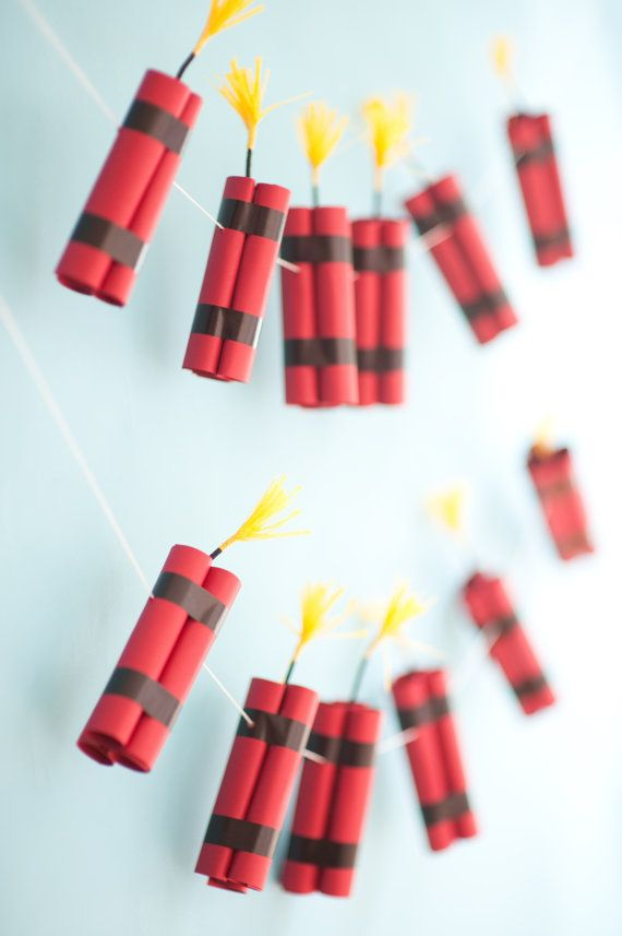 Awesome! Thats what your kids will say when they see this dynamite garland!    Perfect for a Minecraft, Angry Birds, 4th of July or even a Dino-saur