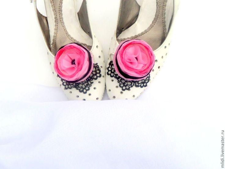 """Купить Цветы . Клипсы, заколки, броши для туфель """"Кружева"""" - розовый, акссесуары, туфли, Украшение для обуви"""