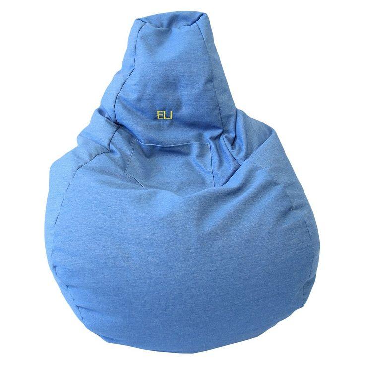 """Gold Medal Cotton """"Monogram"""" Dorm/Gamer Tear Drop Denim Look Bean Bag with Pocket - Blue"""