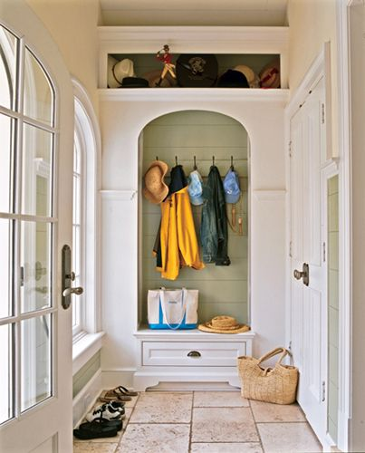 Mud Room: Coats Racks, Back Doors, Color, Mudrooms, Arches, Mud Rooms, Closet, Entryway, Nooks