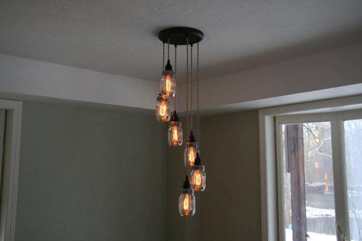 Tarro de luz de la lámpara araña de tarro de por IndustrialRewind