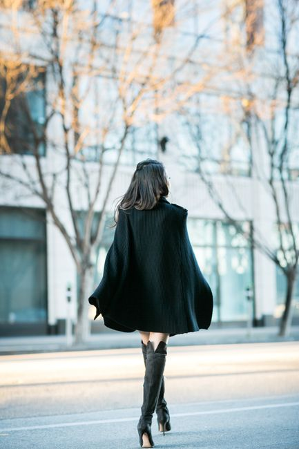 Batman :: Sweater cape & Tall boots :: Outfit :: Top :: Pierre Balmain sweater cape Dress :: T by Alexander Shoes :: Gianvito Rossi Bag :: J.Crew Accessories :: Chanel pin, Cartier watch Published: December 28, 2014