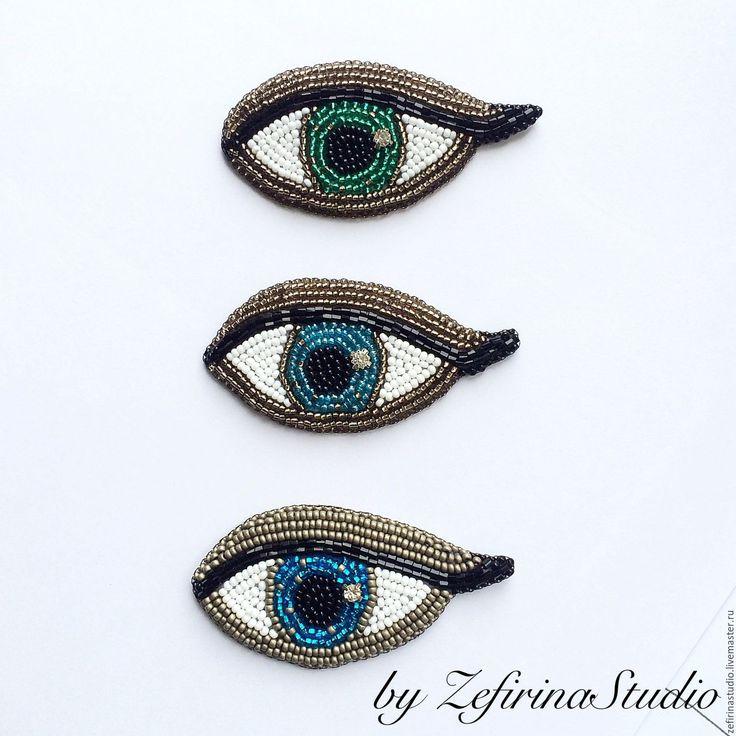 """Купить Брошь """"Глаз"""" оригинальное украшение ручной работы - серебряный, брошь, брошь ручной работы"""