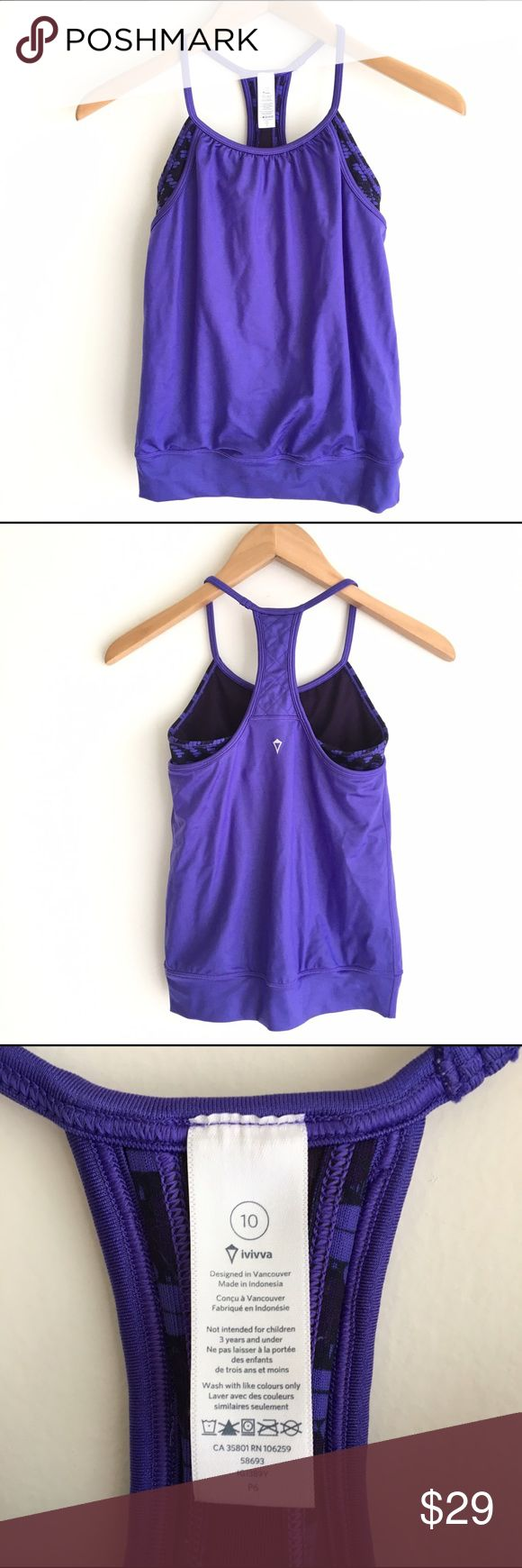 Ivivva Purple Double Dutch Tank Ivivva, little sister brand to lululemon. Double layer tank offers coverage. Top layer in mesh fabric is light weight and sweat wicking. Added lycra for extra stretch and long term shape retention. Tight fitted body. Racerback. Bottom hem band keeps tank in place. Purple tank with black and purple interior print. Excellent condition. Ivivva Shirts & Tops Tank Tops