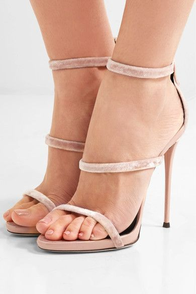 Heel measures approximately 110mm/ 4.5 inches Blush velvet and patent-leather Zip fastening along back Designer color: Veronica Cipria  Made in Italy