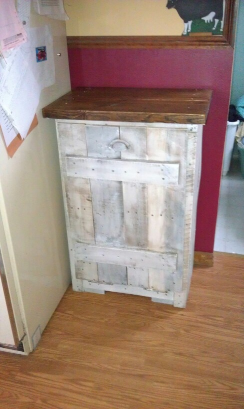 Pallet Board Used To Make A Trash Can Cabinet Kathi