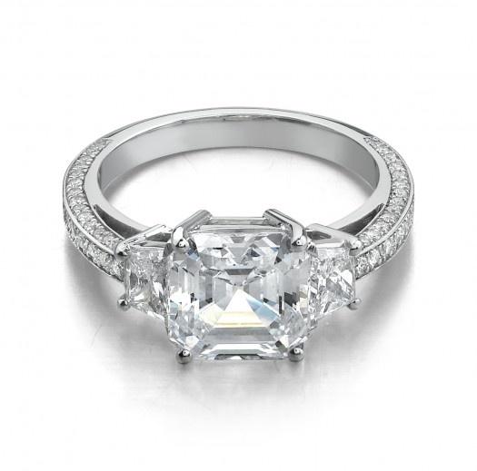 Unique Stone Square Emerald Cut Diamond Ring