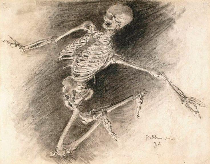Władysław Podkowiński, Study of a Skeleton (1892 - Charcoal & gouache)