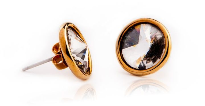 Sweetie Pie Jewelry Crystal Rivoli Cabochon Earrings, 18k Gold-Plated Settings