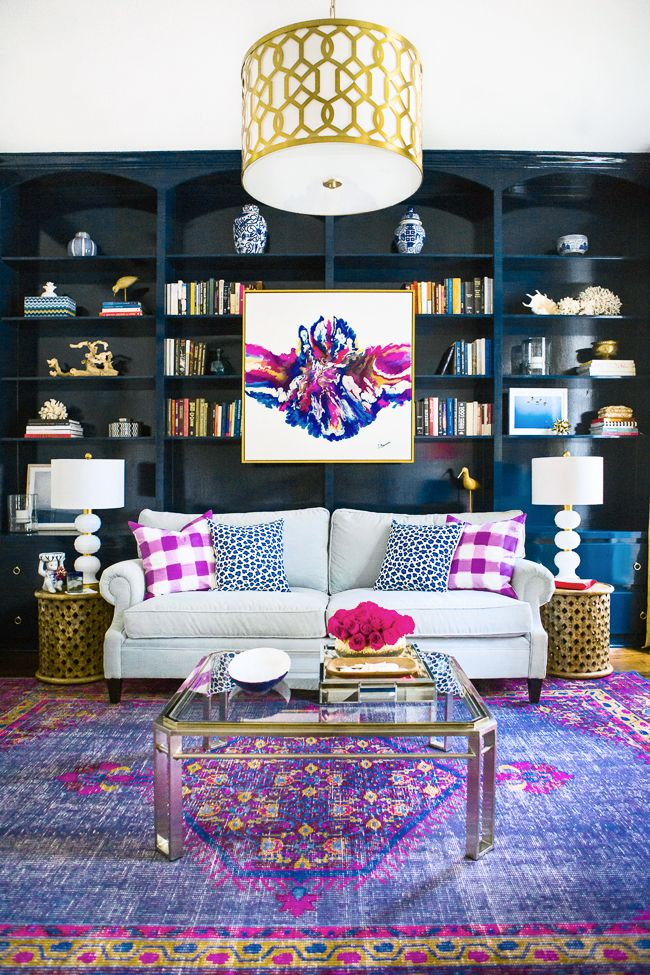 Abstract Artwork Purple Persian Rug Built In Bookshelves Dark Blue How To Hang Your Home Indigo Family Living Room Space Design Shop Ideas