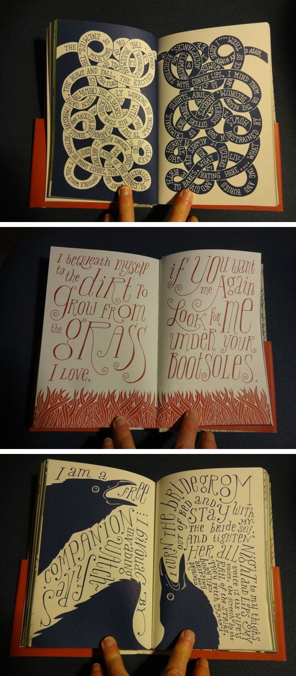 Whitman Illuminated: Song of Myself is an illustrated edition of Walt Whitman's iconic poem. The entire 256-page book is drawn by hand by Allen Crawford. Published by Tin House Books, release date: May 13, 2014.  #art #hand_lettering #illustration