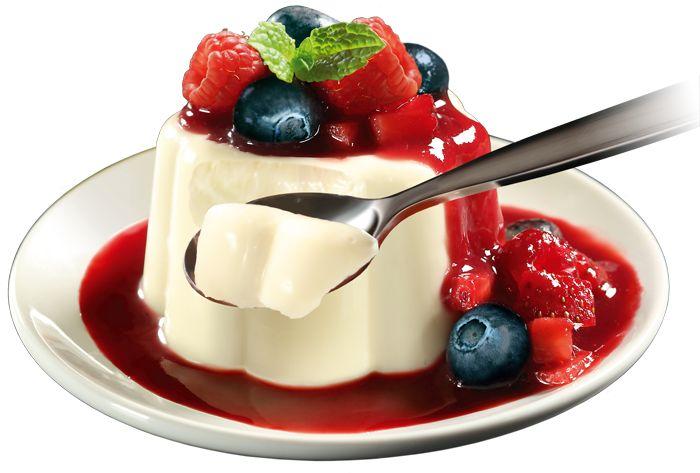 Panna cotta diet com frutas silvetres - Ingredientes:  2 xícaras de chá de leite desnatado  4 colheres de sopa de adoçante culinário  1 colher de sopa de raspas de casca de limão e laranja  2 envelopes de gelatina em pó sem sabor  4 colheres de sopa de água  2 potes de (200g) iogurte desnatado  1 caixa (200g) de creme de leite light