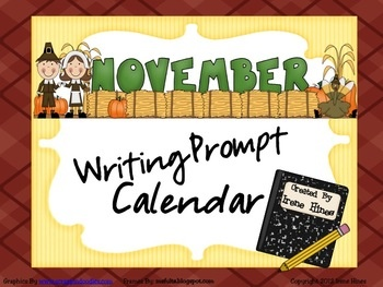 November & Thanksgiving Writing Prompt Calendar ~ {Based On Common Core Standards} ~ A November writing calendar with 20 writing prompts ~ Four writing journal covers to choose from. ~ Writer's checklist for students to remind children what to focus on while writing. ~ A variety of November, Thanksgiving and Autumn writing paper designs, each with two different line types. This calendar was created without specific dates or days of the week so it can be a resource used year after year.