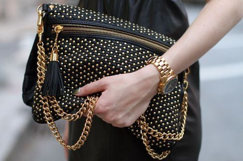 Goldgold: Fashion, Style, Handbags, Purse, Gold, Accessories, Black