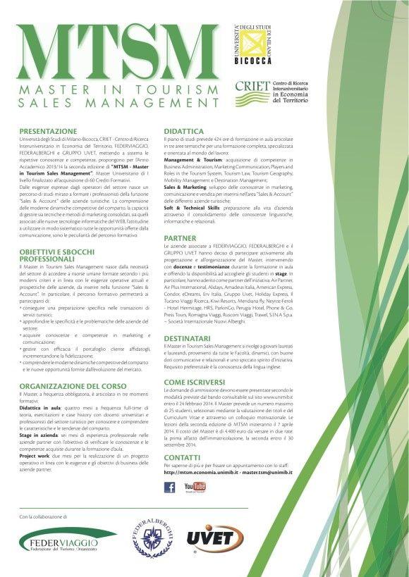Master in Tourism Sales Management volantino