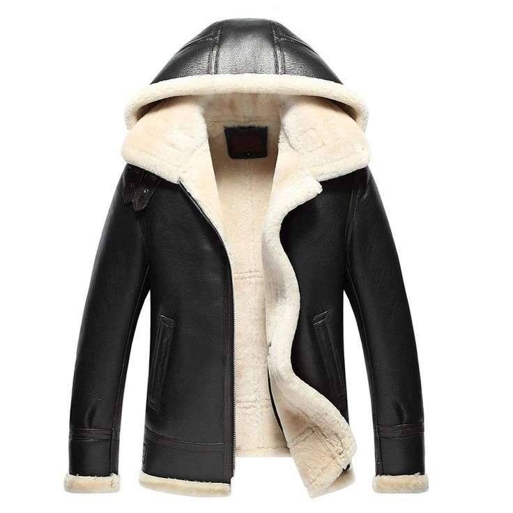 Mens Fur Coat Pilot Leather Jacket Men's Shearling Coat Mens Leather Jacket Hooded Jacket Men Casual Lapel Parka