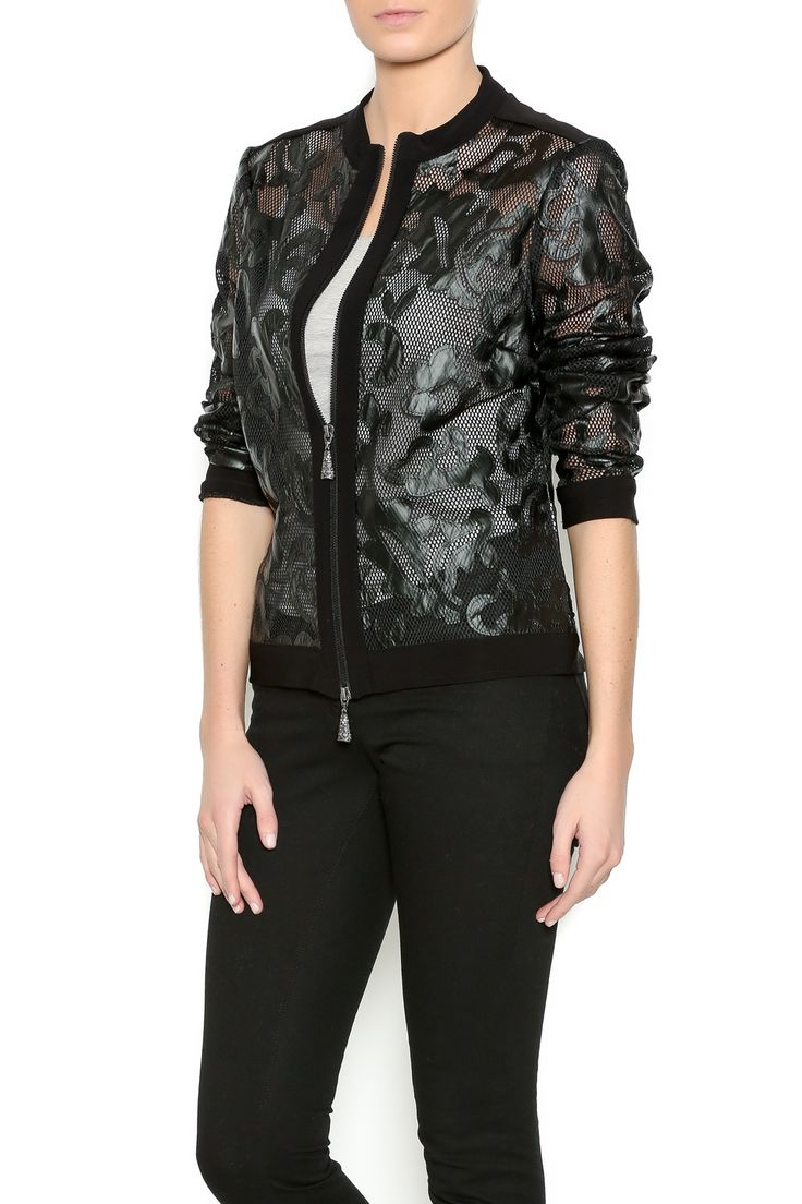 Black vegan leather collarless jacket with a zipper front closure and ribbed cuffs. Sheer Vegan Leather Blazer by Frank Lyman. Clothing - Jackets, Coats & Blazers - Bombers New York