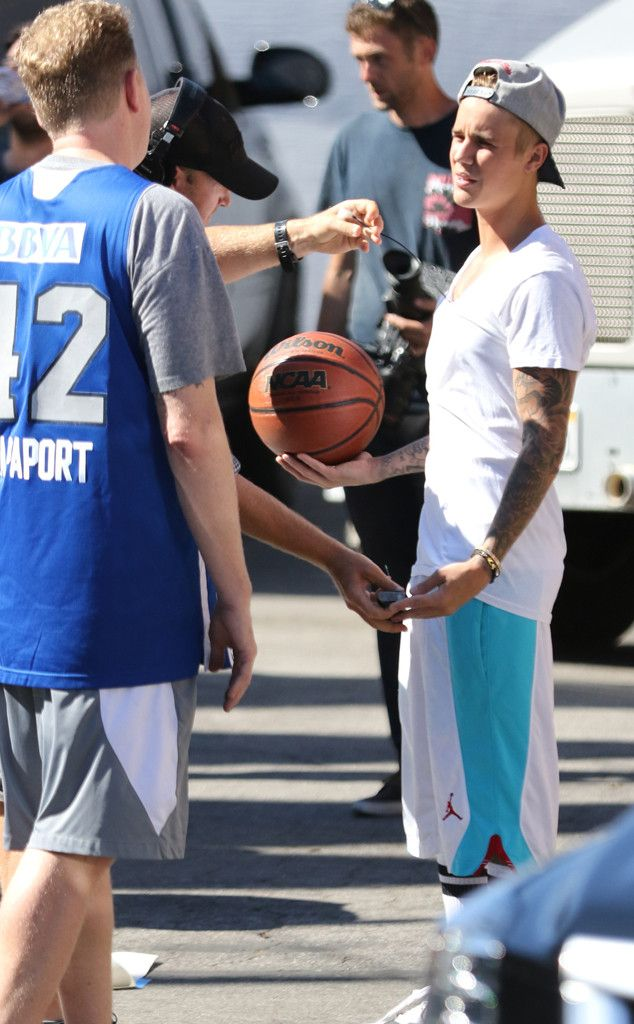 Justin Bieber from The Big Picture: Today's Hot Pics  Singer is spotted with actor Michael Rapaport playing basketball in a parking lot in West Hollywood.
