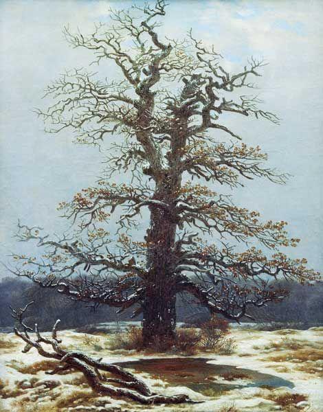 Caspar David Friedrich, Albero di quercia in mezzo alla neve, 1828, olio su tela, Alte Nationalgalerie, Berlino
