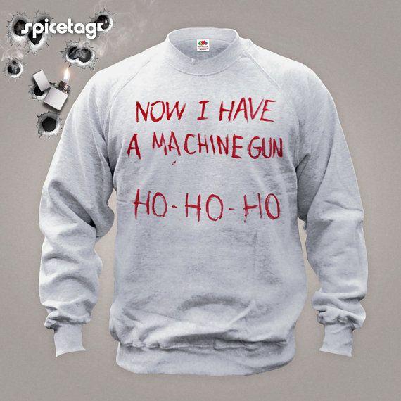 Now I Have A Machine Gun Sweater Movie Jumper  Film Sweatshirt Fancy Dress Christmas Xmas Ho Heather Grey S-XXL Halloween Costume Shirt