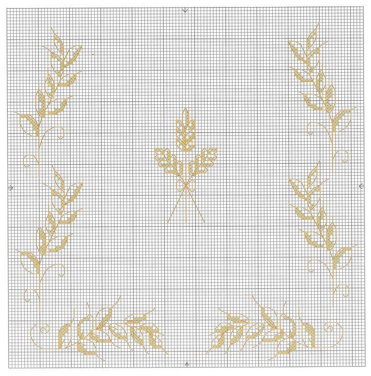 wheat motif cross-stitch