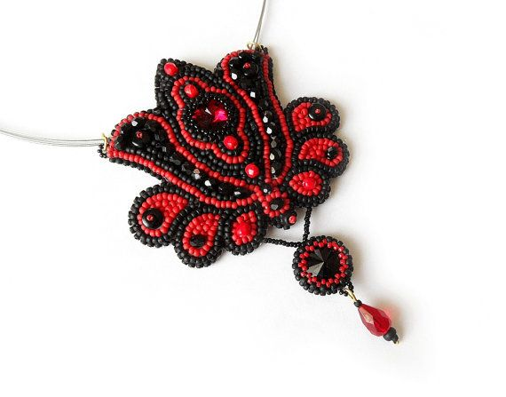 Kalocsa folk embroidery necklace, Hungarian folk art pendant, OOAK red black, bead embroidered jewelry on Etsy, $92.39 AUD