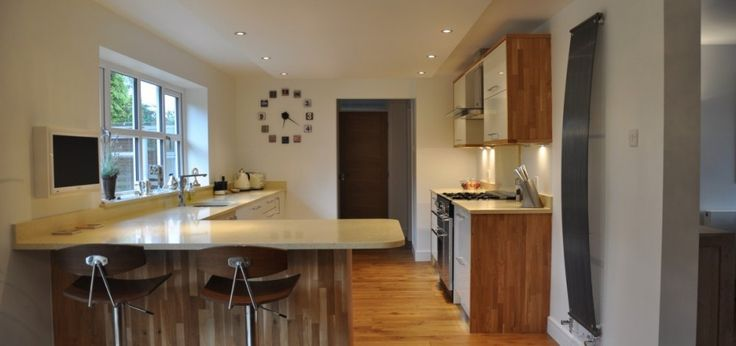 High Gloss Acrylic with Solid Oak End Panels & Beige Starlight Quartz