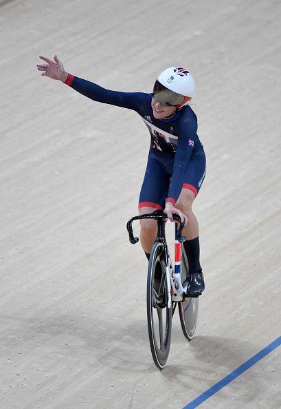 Laura Trott of Great Britain celebrates winning gold in the women's Omnium…