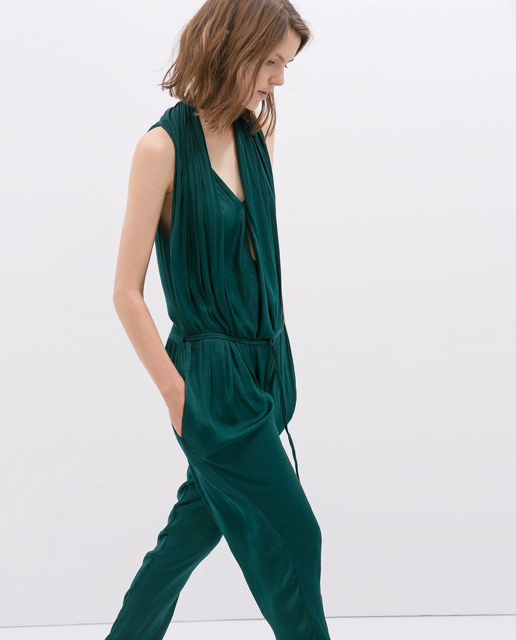 DRAPED FRONT JUMPSUIT From Zara | My Style - Haves Wants And Wish List ;) | Pinterest ...