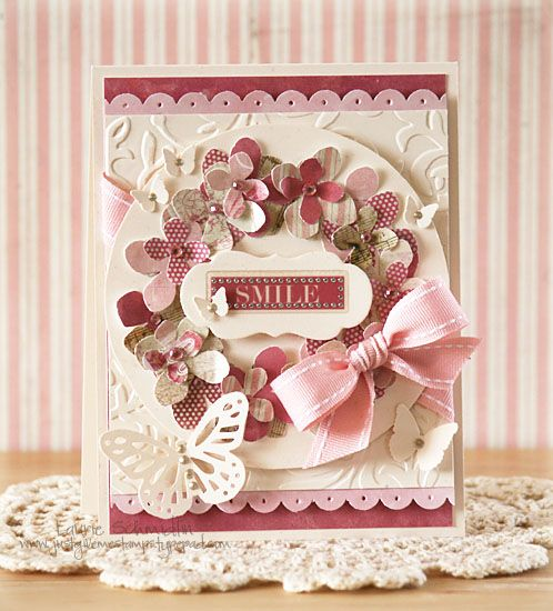 pretty: Flowers Cards, Cards Ideas, Beautiful Cards, Crafts Cards, Paper Flowers, Flowers Wreaths, Mothers Day Cards, Cards Crafts Diy, Handmade Cards Scrapbook