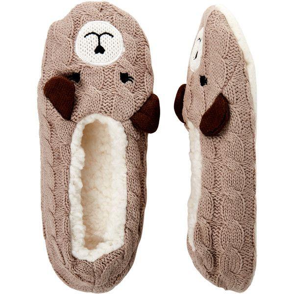 Capelli New York Sleepy Bear Knit Slipper Socks (94.700 IDR) ❤ liked on Polyvore featuring intimates, hosiery, socks, beige, knit socks, capelli new york, beige socks, embroidered socks and bear socks