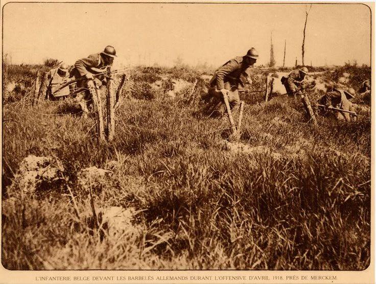 WWI BELGISCHE SOLDATEN APRIL 1918 MERKEM