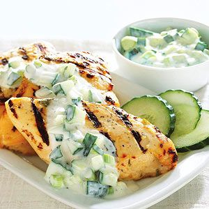 Grilled Chicken with Cucumber Yogurt Sauce: Per serving: Calories 159, Total Fat 2 g, Saturated Fat 1 g, Cholesterol 68 mg, Sodium 251 mg, Carbohydrate 5 g, Fiber 0 g, Protein 29 g. Daily Values: Vitamin A 0%, Vitamin C 0%, Calcium 0%, Iron 0%. Exchanges: Vegetable .5. Percent Daily Values are based on a 2,000 calorie diet