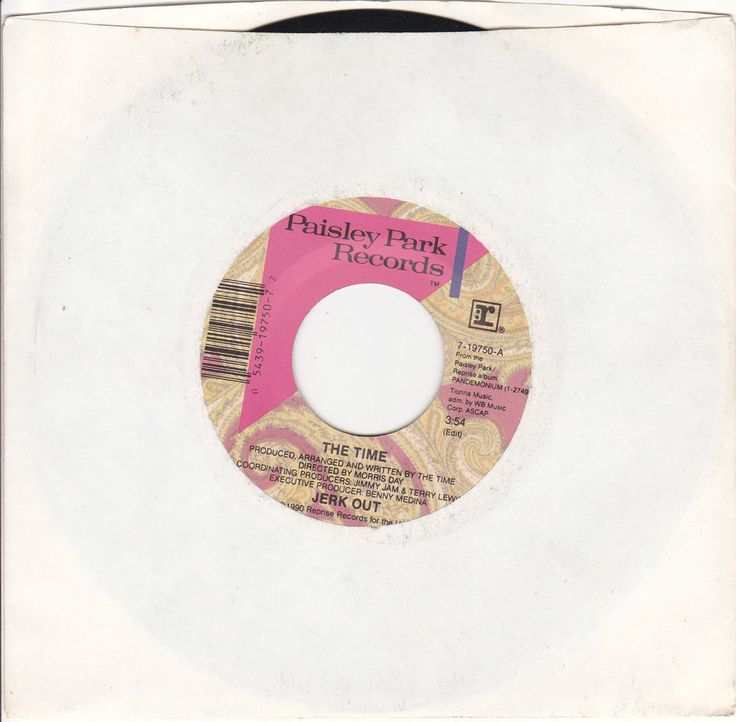 "The Time / Jerk Out / Mo' Jerk Out / 7"" Vinyl 45 RPM Jukebox Record / Morris Day / Paisley Park 19750 / MINT"
