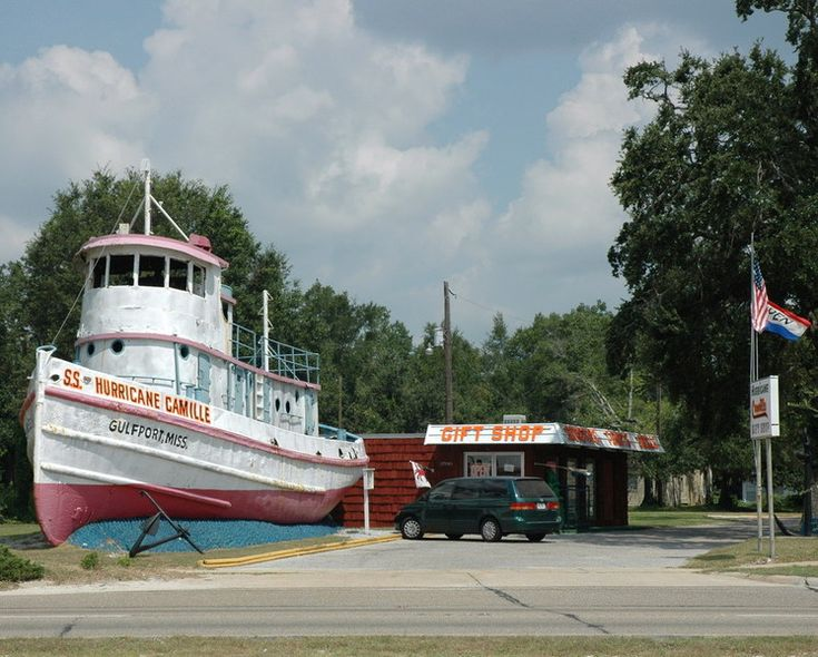 Gulfport, MS : SS Hurricane Camille gift shop. Washed up during what was believed to be as bad as it could get hurricane Camille. Gift shop was destroyed by Katrina but the tug is still there. Developers later bought the site and dismantled and removed the tug