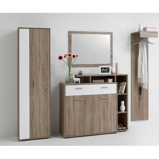 Bozen 6 Shoe Cabinet In Oak With 1 White Drawer And 2 Doors1