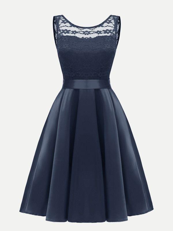 8d6b81c12656 Vinfemass Sleeveless Contrast Lace Belted Party Skater Dress ...