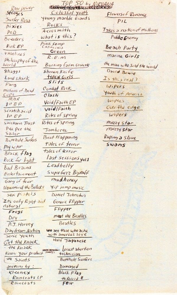 This will not be new to anyone who owns a copy of Kurt Cobain's Journals, but for the rest of us, the late Nirvana frontman's hand-scrawled list of his all-time favorite albums is a sight to behold. And I am glad to say that I own about 20 of those albums :-)