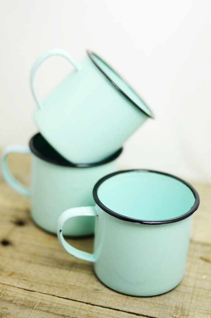 Enamelware Robin's Egg Blue Mug