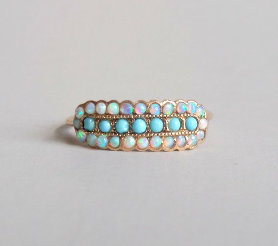 Antique Victorian Opal Ring. 14k Gold Glass Turquoise. by TheDeeps
