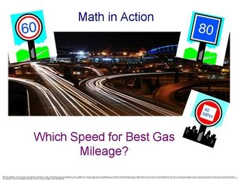 Newly revised and improved.  What speed will provide the best gas mileage? This lesson was created to reinforce analyzing and graphing data, identify the independent and dependent variable, calculate the slope of the line passing through the points, project rentals from their analysis, and formulate a conclusion.