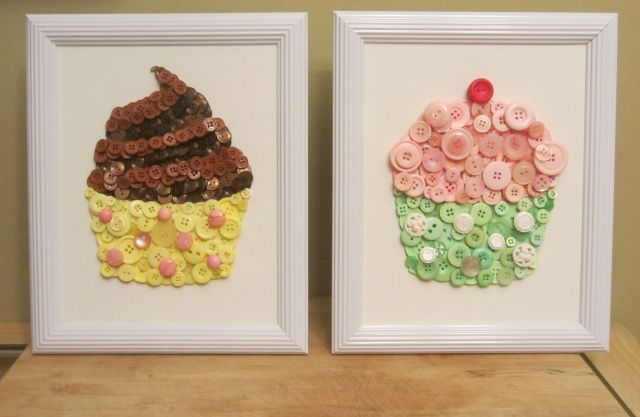 I absolutely love button crafts, and these take the (cup) cake! Use these decorative crafts for kids to add some fun to a kid's room.