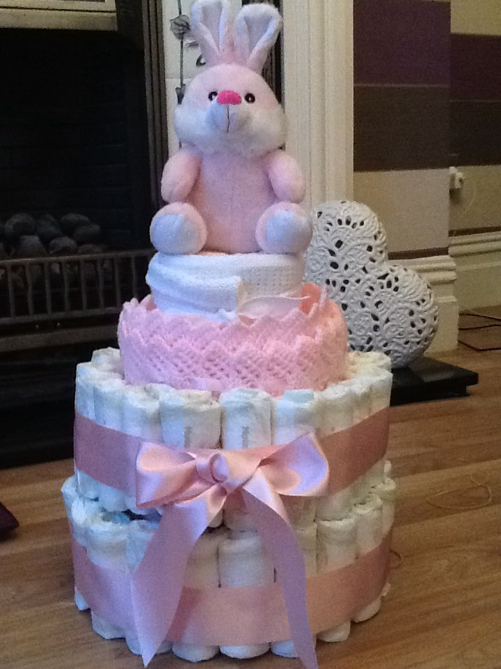 Pink and white nappy cake