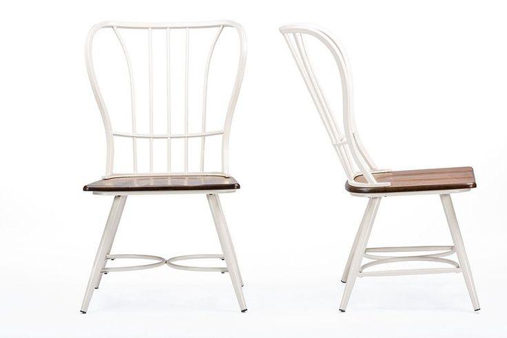 Longford Wood White Metal Vintage Industrial Dining Chair - Set of 2