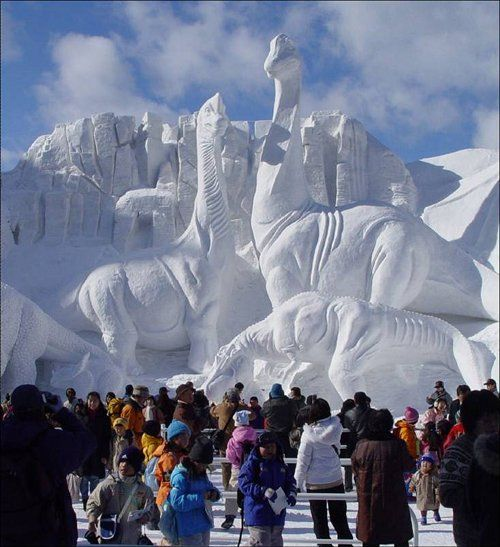 World famous Alaska Ice Festival in Fairbanks (this is the middle of Alaska and gets COLD in winter with a GREAT chance at seeing northern lights... it's about 5 hours drive from Anchorage)... and when the weather warms, they'll be extinct yet again.